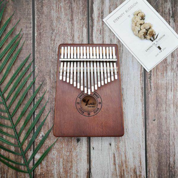 kalimba 17 key resonant box mahogany wood blue color