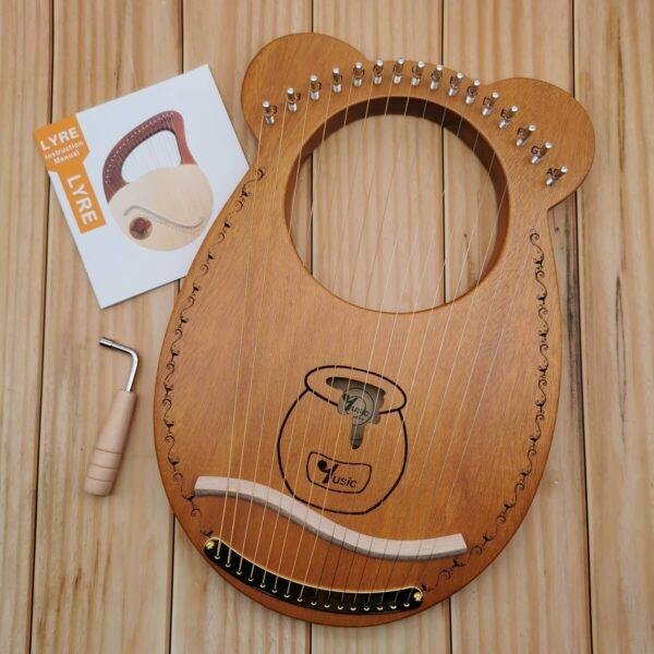 Lyre harp 16 strings honey