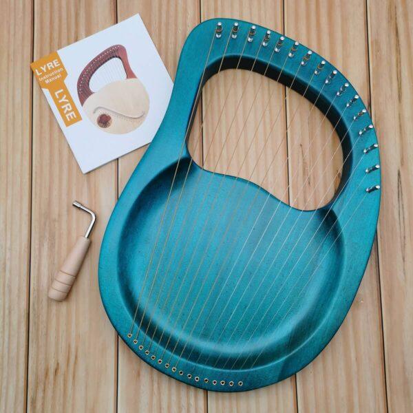 16 strings lyre harp Flat Board blue green